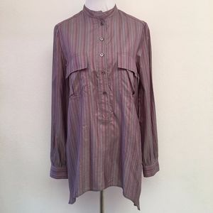 Elizabeth and James Striped Silk Long Sleeve Shirt